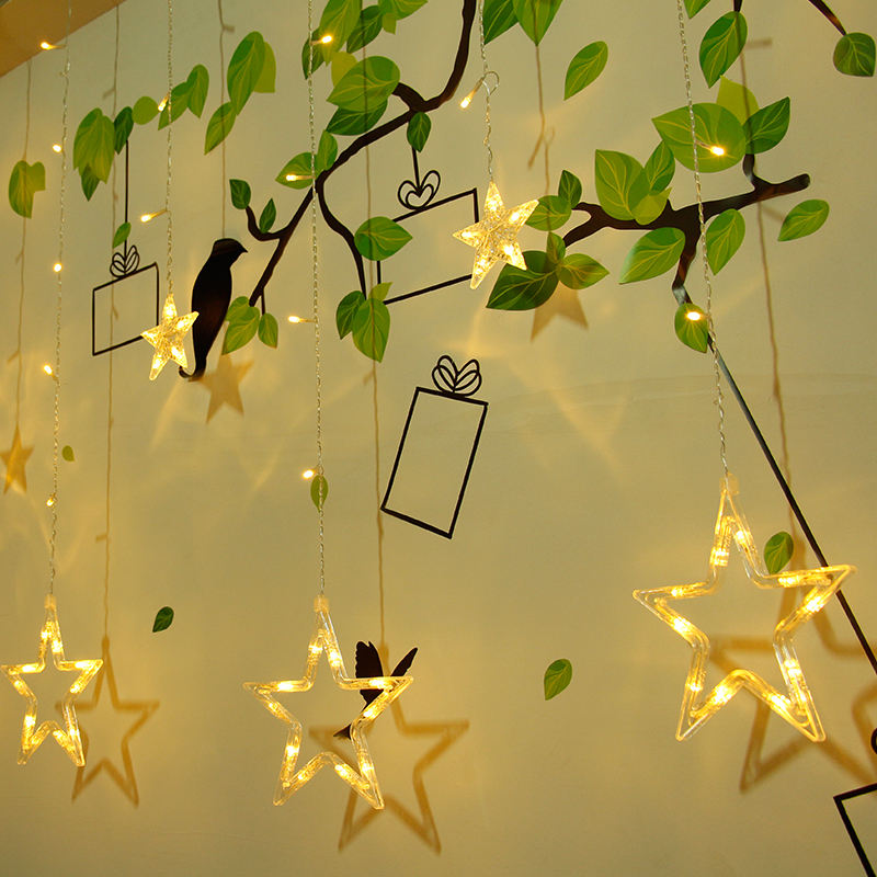 Factory selling Warm white store window decorative christmas led string lights indoor home decor star Led curtain light