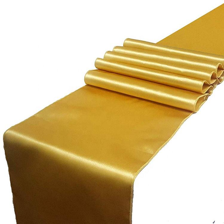 12x108 inch Wholesale 100% Polyester high quality Amazon Luxury shiny Gold Satin Table Runner For Wedding Banquet