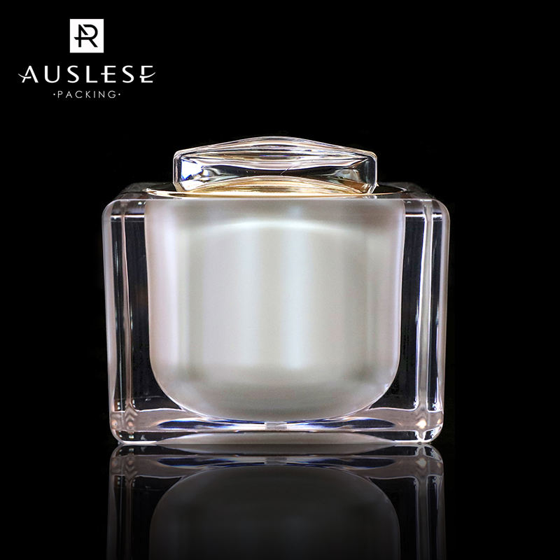 New design 50g empty luxury acrylic square cosmetics elegant cream jar