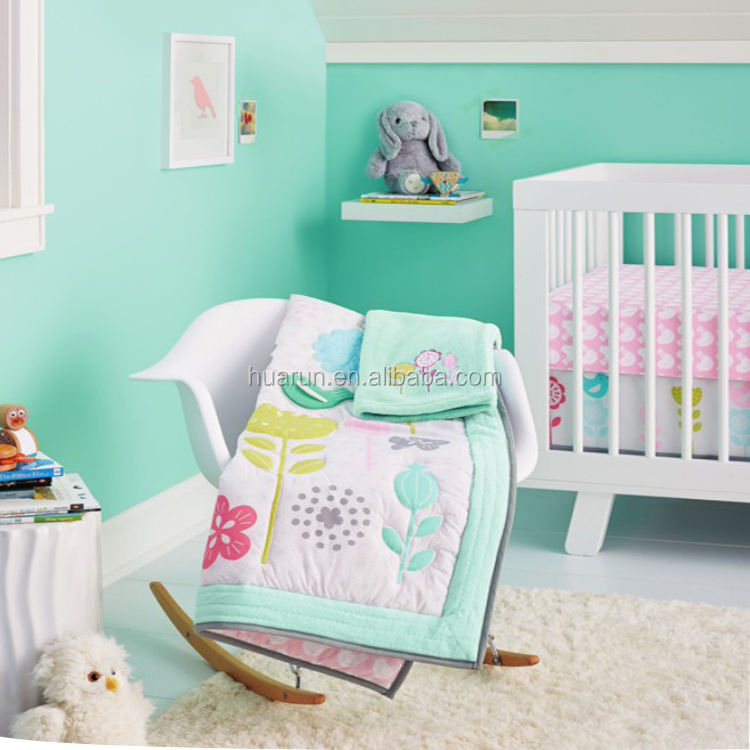 babies dragonfly crib bedding sets for girl spring bird flowers cot bedlinen american baby comforter set girl nursery bed set