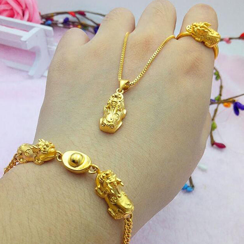 Vietnam Alluvial Gold Women Jewelry No Fade Brass Golden Pixiu Rings Bracelets Charms Necklace Jewelry Set