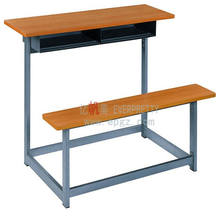 Cheap School Furniture Sets Wood Double Student Desk and Bench