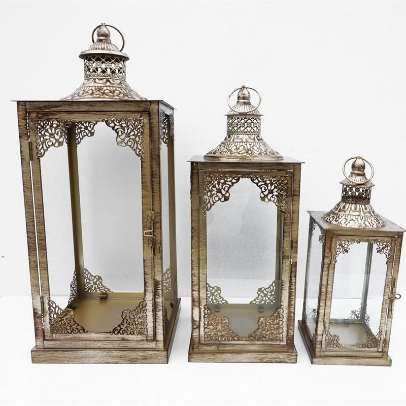 Set of 3 garden and home decoration moroccan candle metal lantern