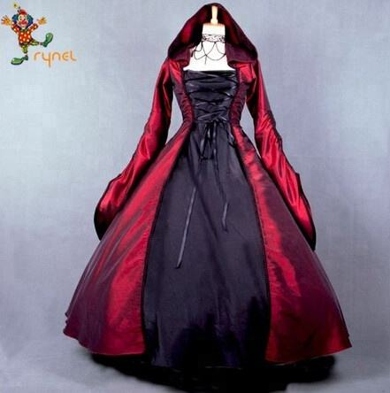 PGWC2409 Gothic Witch Costume Tudor Fancy Dress Medieval Costumes