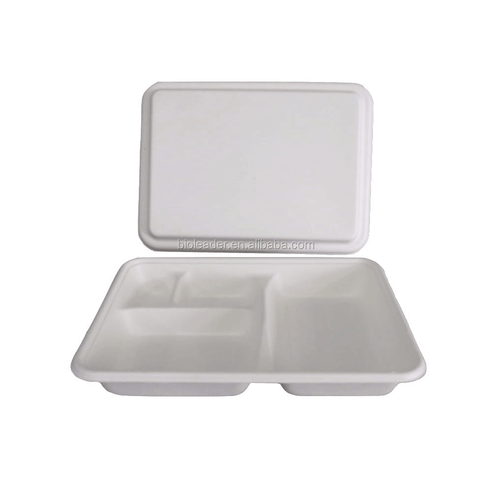 Eco-friendly Sugarcane Bagasse Wholesales Biodegradable Disposable Fast Food Safe Tray