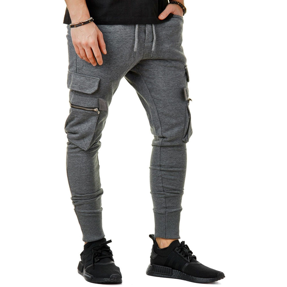 Custom New Style Men's Knitted casual Zipper Cargo Pants