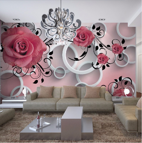 3D Beautiful Rose Relief Soundproof Self Adhesive Wallpaper
