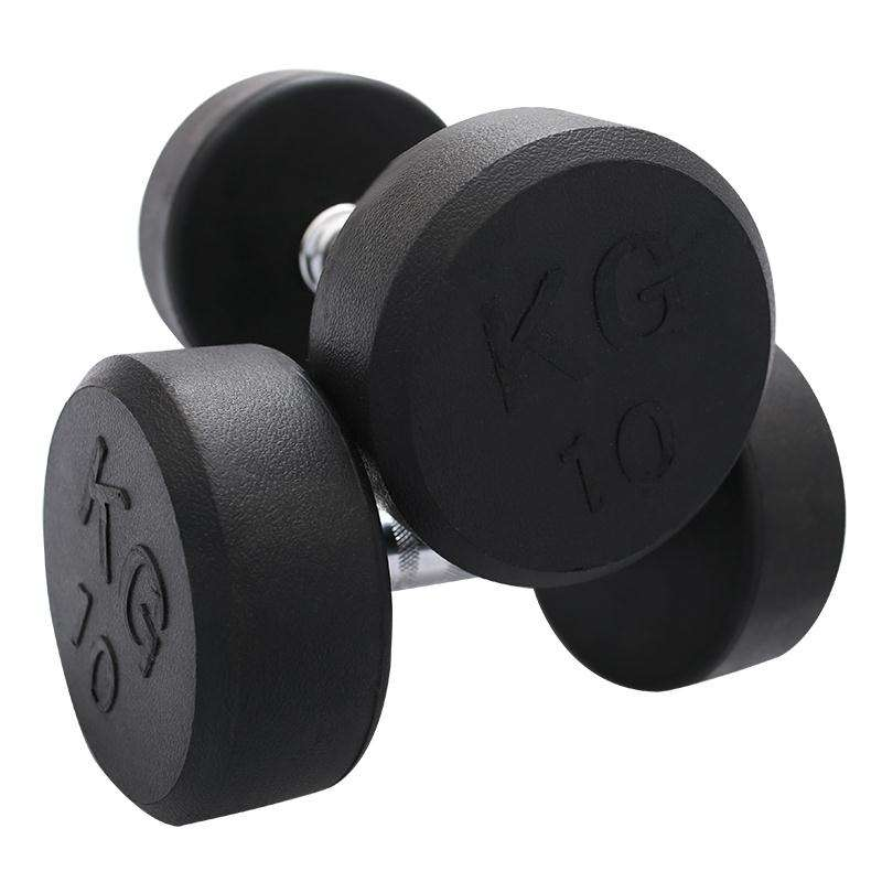 High quality colorful rubber coated hex 10kg dumbbell
