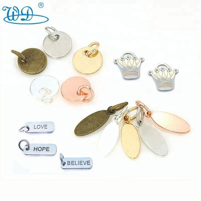wholesale personalized OEM letter metal tags copper stamping rose gold plated promotion metal jewelry charm tag