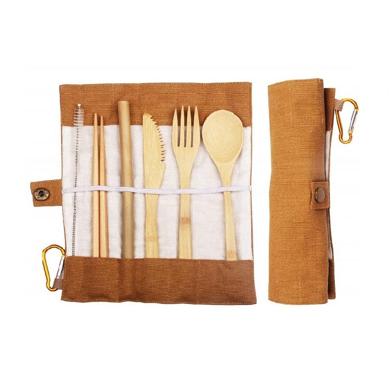 Biodegradable eco-friendly nature reusable bamboo travel cutlery set
