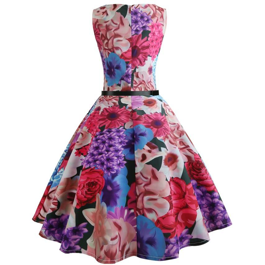 cheap summer women print retro rose dress floral dress for lady