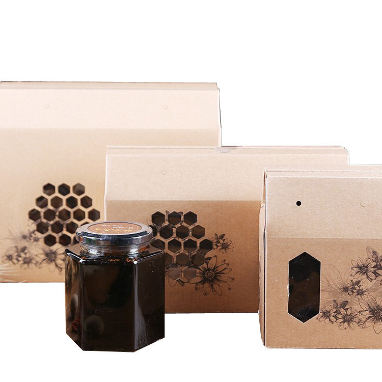 OEM Brown Corrugated Board Paper Honey Gift Box With Drawstring