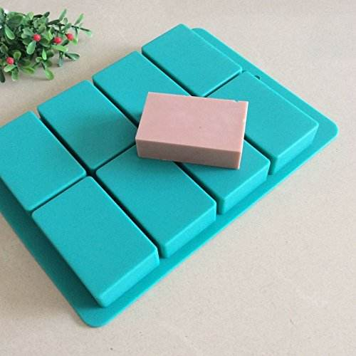 8 Cavities Rectangle Silicone Cake Baking Mold Handmade Soap Moulds
