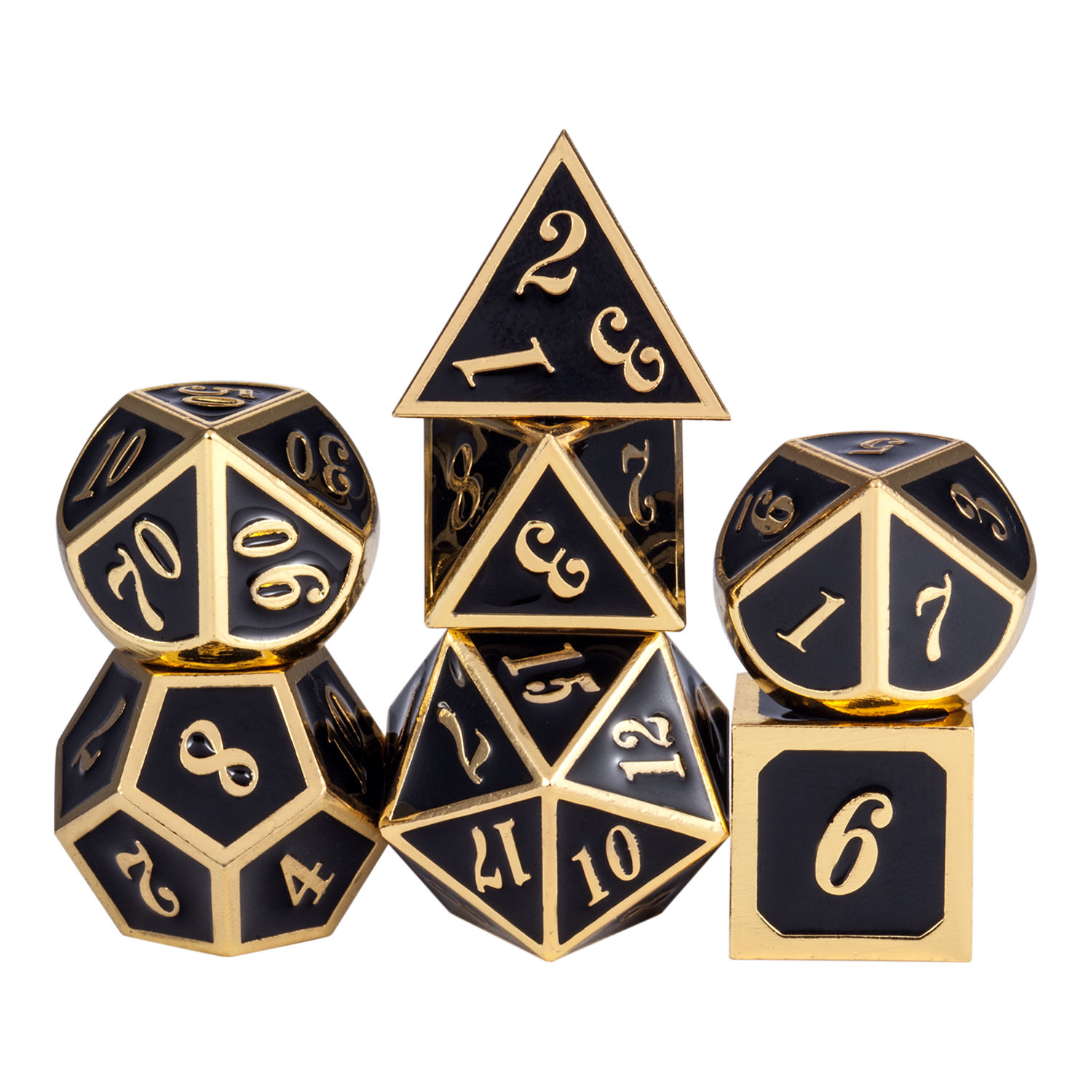 Metal dice Hot Sale Black Gold DND Metal Dice Set for Dungeons and Dragons and Board Game
