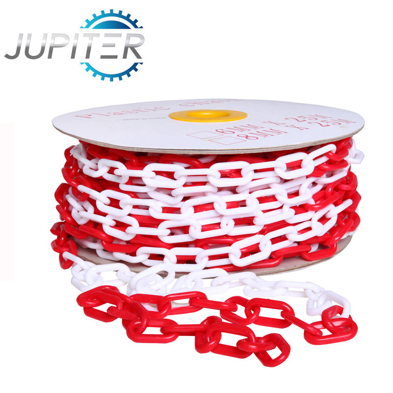 No MOQ free sample highway traffic worksite safety barrier warning red white decorative PE link 6mm coloured plastic chain