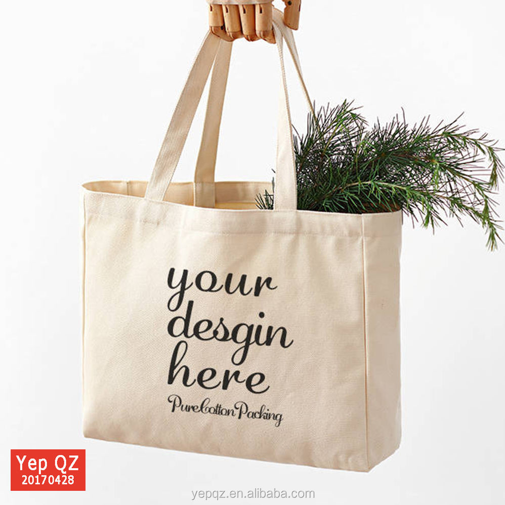 high quality cotton canvas natural colour customized shopping bags
