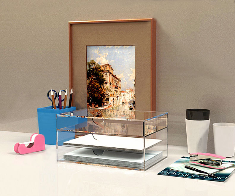 Clear acrylic office desk set stationery organizer storage drawer
