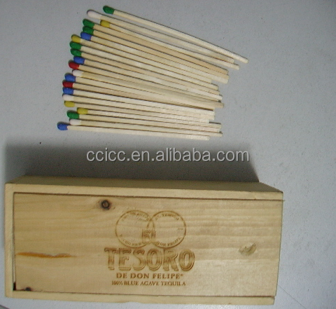 Recycled wood stick and wood box matches