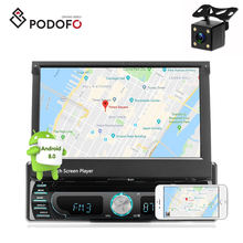 "Podofo 4 LED Rear View Camera Android 8.0 Car DVD Player 1DIN Autoradio 7"" 1705AD GPS Navigation Adjustable Car DVD Player"