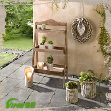 3 wooden  shelves rack, collapsible floor stand, rustic flowers and plant sets  pots display stand