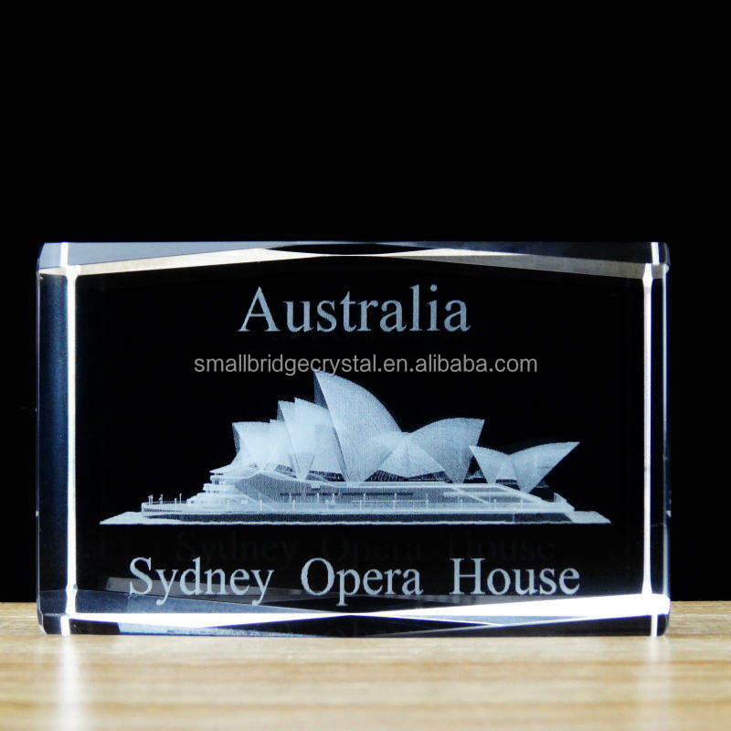 Sydney Opera House laser crystal cube for souvenir gift of tourism
