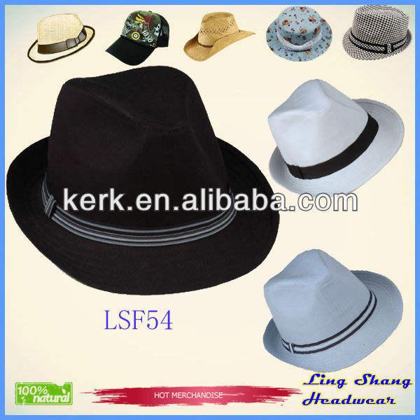 寧波lsf55lingshang工場低価格プレインカラーメーカーヴィンテージフェドーラ帽子