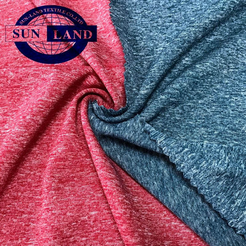 latest trend knitting melange polyester rugby sports jersey fabric for T shirt and outdoor wear