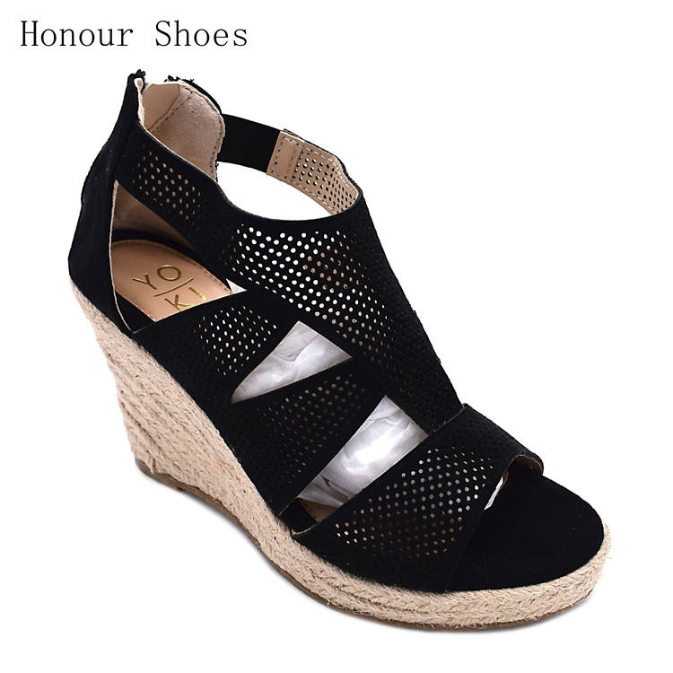 High quality best selling hemp rope side waterproof sticky foot wedge high heel sandals