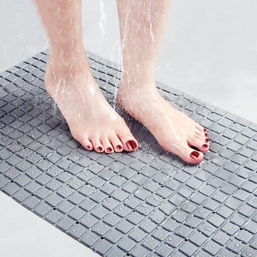 2020 New Arrival Anti Slip Bath Tub Shower Mat with Strong Suction Cups Mildew Resistant Square Bathtub Mat with Drain Hole