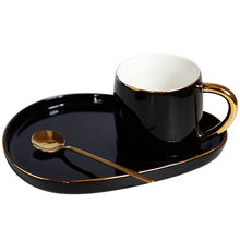 European style gold handle ceramic black coffee tea cups with dessert plate