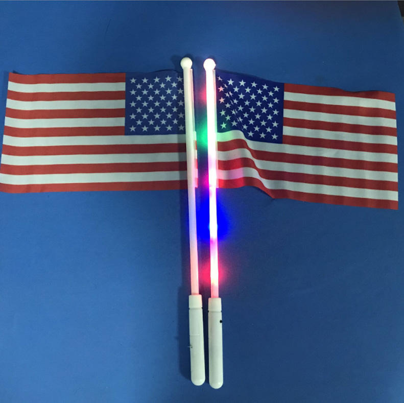Durable custom 5pcs 3 colors LED flag light glow pole stick for hand flag