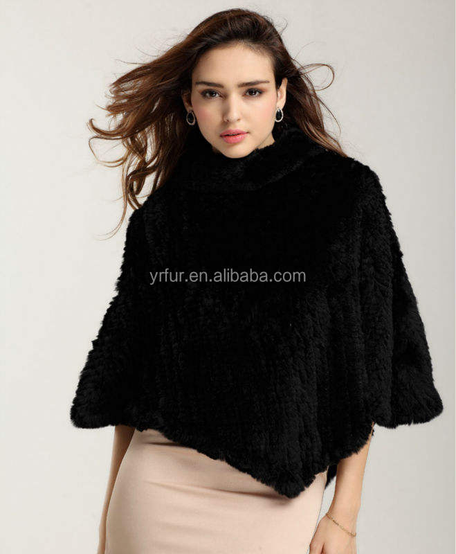 YR497 YR fur Top Quality Real Rabbit 니트 퍼 판초/정품 Rex Rabbit Fur Cape