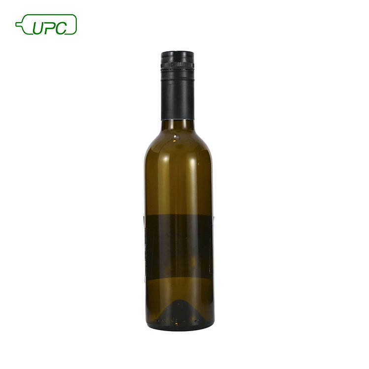 375ml Small Green Glass Red Wine Bottle With Black Cap