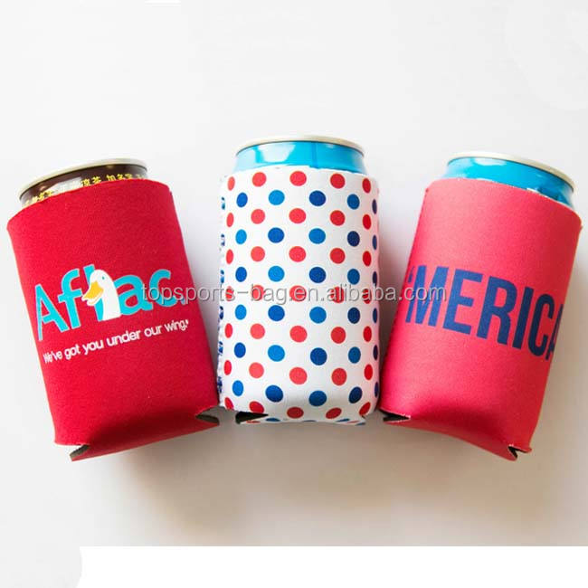 Neoprene Red Folded can cooler for Ice Cold Drinks
