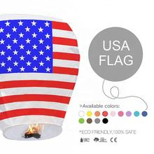 Boomwow Handmade USA Flag ECO Wire Free 100% Copy Paper Sky Lantern for 4th of July American Independence Day