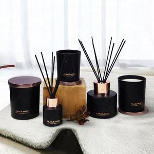 Aroma Du Monde Custom luxury matte black glass bottle aroma reed diffuser with rattan sticks