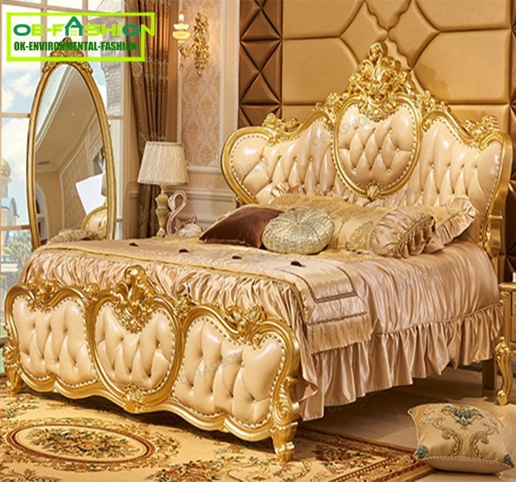 Luxury Design Gold Leaf Carving King Size Bed/ European Classic Royal Luxury Golden Wooden Bedroom
