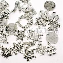 Pandahall Mixed Shape Tibetan Silver Alloy Charms for Jewelry