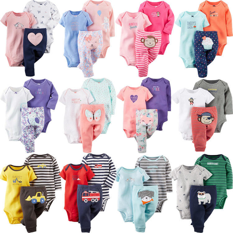 Animal Wholesale 100% Cotton 3個Cute Bodysuits Baby Suit Pants Newborn Suit Wear Baby Clothes