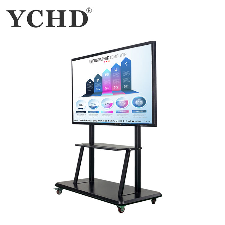 75'' touch portable whiteboard projector screen mini white board with wheels