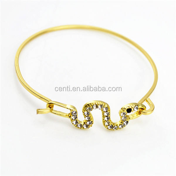 rhinestone snake charm wire bracelet bangle gold wire bangel