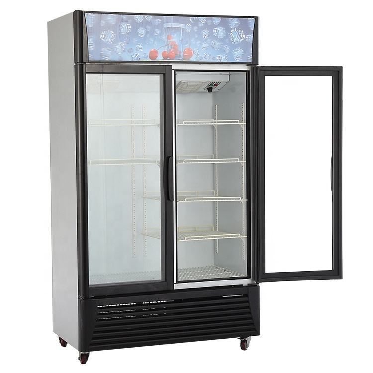 Upright Showcase Cooler of 2 door glass vertical fridge for soft drink beer pepsi cola