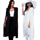 Women Elegant Blazer Contrast Binding Open Front Cape Long Sleeve Blazer White Black Longline Plain Outer Y11129