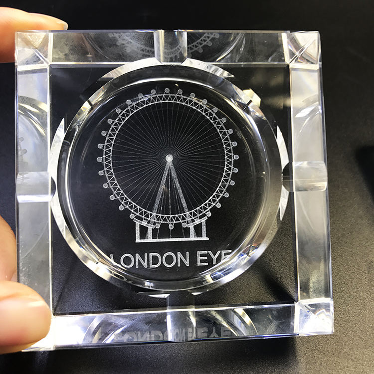 Hot sale souvenirs square or round logo engraving crystal glass ashtray