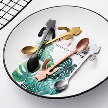 18/10 Multicolor Stainless Steel Metal Coffee Tea Spoons Cartoon Cat Spoon Ice Cream Spoon