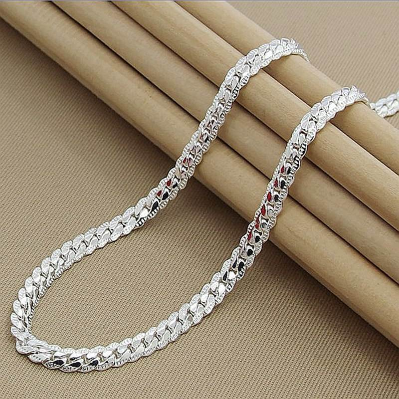 Women 6MM Full Sideways Silver Necklace 925 Silver Plated Fashion Jewelry Men Link Chain Necklace