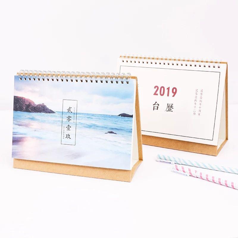 2019 atacado personalizado impresso colorido e personalidade calendário de mesa
