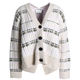 Fashion Style Button Placket Ribbed Knit Cardigan Women