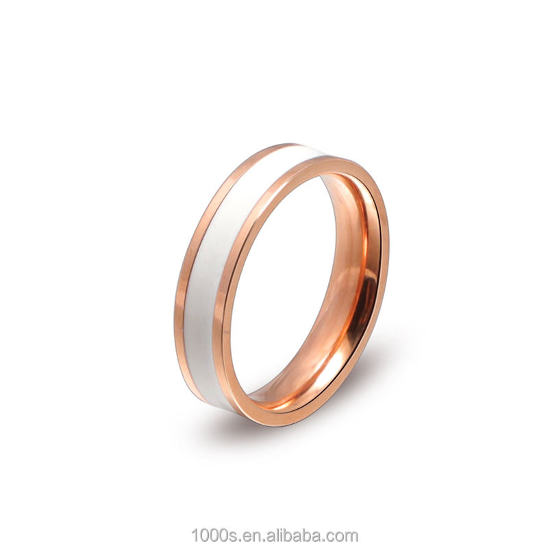 Free Sample Dropshipping Rose Gold Stainless Steel Couple Eternity Rings with Black Enamel and White Enamel Wholesale