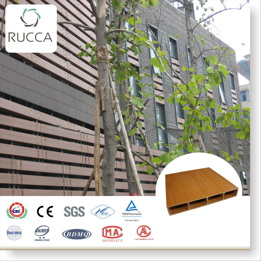 Rucca Eco friendly waterproof wood plastic composite timber tube for outdoor siding decoration 200*30mm building materials